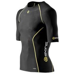 Skins A200 Mens Top Short Sleeve - Kompressionströja - Black/Yellow