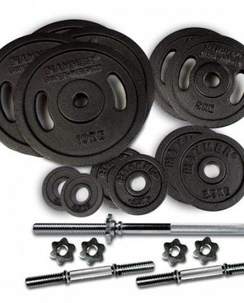 Skivstång- och hantelset Hammer 73 kg