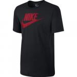 M Nsw Tee Icon Futura, Black/Black/University Red, L,  Nike