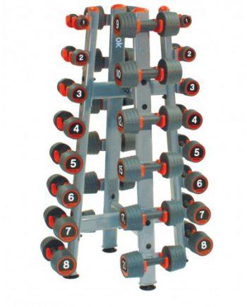 Hantelställ 14 par Reebok Rack Rubber Dumbbell